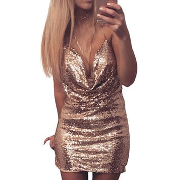 Sexy Halter neck Sequin Party Dresses Women Sexy Backless Bodycon Ladies Deep V Nightclub Mini Dress Outfits 11017