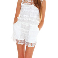 Blush Lace Romper - White