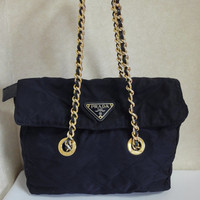 Vintage PRADA classic quilted nylon navy shoulder tote bag with gold tone chain long handles. Must have.