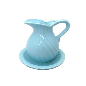 Vintage Pitcher and Bowl Vase Turquoise Blue Swirls