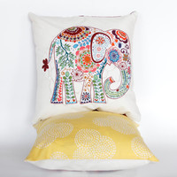 "Pink and Yellow Elephant Pillow- 12""x12"" Throw Pillow Cover with pink paisley elephant appliqué and yellow dotted print backing"