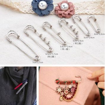 ac spbest Silver Metal Durable Safety Brooch Pins 40mm-70mm Fastening Sewing Kilt Scarf