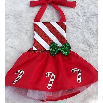 Christmas Newborn Princess Baby Girl Bow Candy Cane Dress Outfits Costume 0-18M