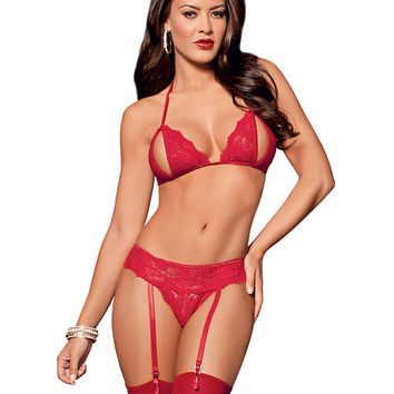 Peek A Boo Tri Top Bra, Garterbelt, Panty & Thigh Highs Red O-s