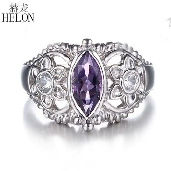 HELON Solid 10k White Gold 10x5mm Marquise 1.22ct Genuine Amethyst & White Topaz Engagement Wedding Ring Women Fine Jewelry Ring
