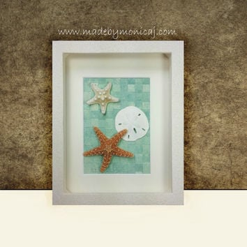 Starfish Beach Home Decor. Handmade One of a Kind Seashell Art in a Shadow Box.  Sea Green