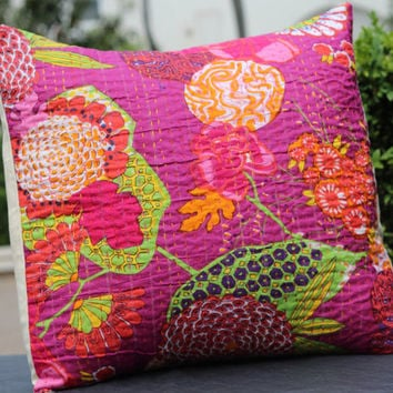 1 piece Boho-chic/Bohemian Hand embroidered cushion/pillow cover Kantha stitch 16x16 inches. Cotton, Indian handmade, Home decor - UK Seller