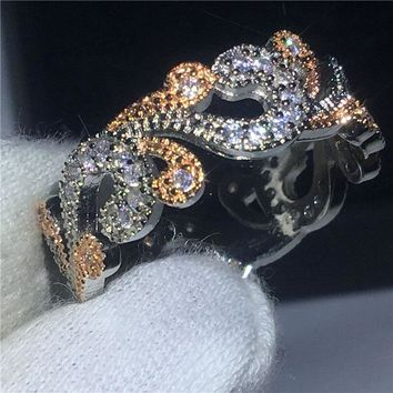Fashion Flower ring Rose White Gold Filled Engagement wedding band rings for women AAA zircon crystal Female Bijoux