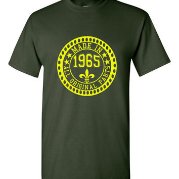 Made in 1965 All Original Parts Tshirt. 50th Birthday Shirt.  Funny Birthday Tshirts. Ladies and Mens Unisex Styles. Makes A Great Gift.