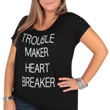 "Plus Size Tee with ""Trouble Make Heart Breaker"" Print with Side Knot"