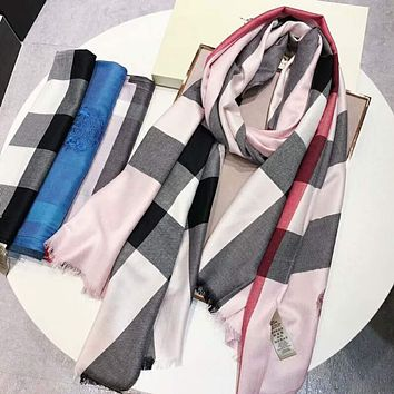 "Hot Sale ""BURBERRY"" Popular Classic Plaid Smooth Silk Cashmere Scarf Scarves Sunscreen Cape Shawl Accessories I-TMWJ-XDH"
