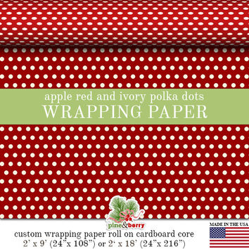 Polka Dot Pattern Custom Wrapping Paper In A Variety Of Colors | Gift Wrap Matte Finish 9 ft. or 18 ft. Rolls For Any Occasion.
