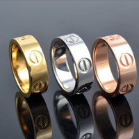 New Fashion Jewelry Screw Shape 3 Color Stainless Steel Unisex's Ring Best Gift!