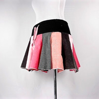 Patchwork Skirt, Upcycled Clothing, Hippie Skirt, Boho Chic Clothing, Hippie Clothes, Bohemian Clothing, Short Skirt, Pink and Gray Skirt