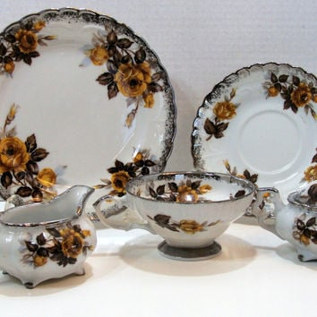 Vintage Yellow Rose Dessert Set Cake Plate Teacups and Saucers Dessert Plates Creamer and Sugar