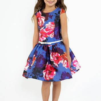 Girls Royal Blue Floral Print Mikado Dress with Low Waist 4-14