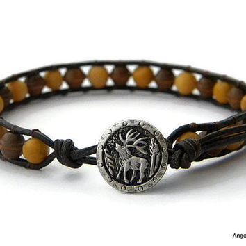 Mens Bracelet Leather Wrap Bracelet Elk Single Wrap