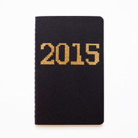2015 journal, pocket diary, planner, gold pixel font