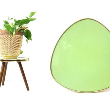 Mint Green Tripod Table Plant Stand Retro Vintage Kidney Side table Home Decor Furniture