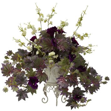 Artificial Flowers -Morning Glory And Cherry Blossoms With Metalanter Artificial