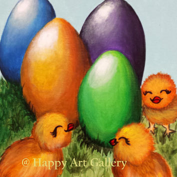 Easter eggs easter chicks original easter art Easter Painting chicken, Spring decor Easter Chicks original painting, folk art, chicken 12X9""
