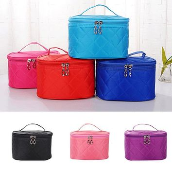 2017 new cosmetic box female professional plaid makeup bag women\\\'s large capacity storage handbag travel toiletry bag