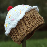 Pattern Directions for Making a Crochet One Year Cupcake Hat for Infant and Toddlers Photo Prop
