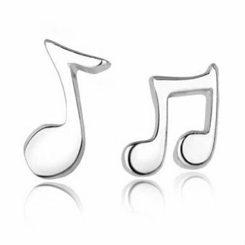 SUSENSTONE  Fashion Jewelry Cute Lovely Musical Note women girl Silver Stud Earrings