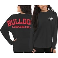 Women's Georgia Bulldogs Gray Sweeper Long Sleeve Oversized Top