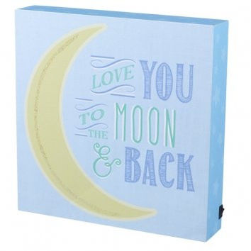 Large Lighted Decorative Nursery Sign Battery Operated - Love You To The Moon and Back - 9-3/8-in