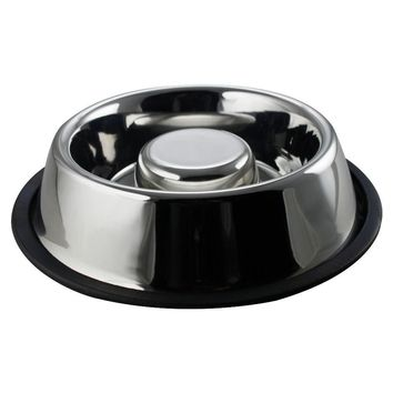 Slow Feeder Pet Bowl Anti Skid Stainless Steel Large by Boomer N Chaser
