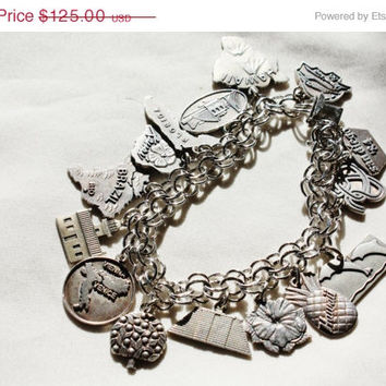 Summer Sale Vintage Sterling Charm Bracelet Souvenir Tourist Disney Hawaii 1980s Jewelry