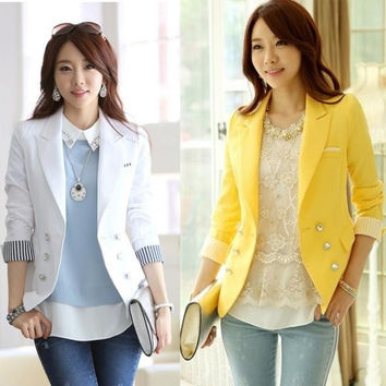 Women Fashion Blazer Suit Coats Jacket Long sleeve with striped Elegant Casual White/Yellow Sexy lady (S,M,L,XL,XXL) = 1929992836