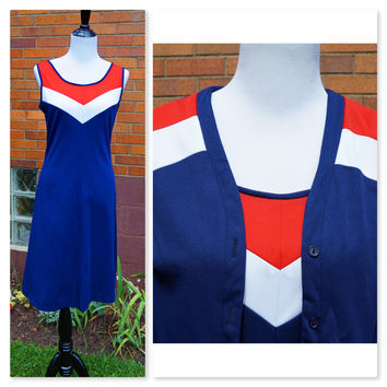 Vintage Sportswear Tank Dress and Matching Cardigan,A- Line, Red White and Blue, School Team Spirit, American, Preppy, Sporty, Game Day