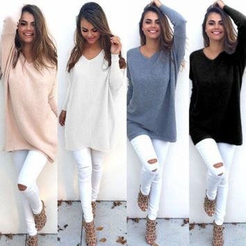 Chic Womens V Neck Long Sleeve Knitted Sweater + Nice Free Necklace Gift
