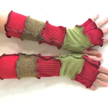 Upcycled Fingerless Gloves Red Green Armwarmers Recycled Wrist warmers Stripe Gloves Knit Gloves Fingerless Mittens