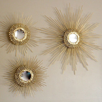 Trio of Starburst / Sunburst Mirror (1) 27inch (2) 16 inche (gold w/ points)
