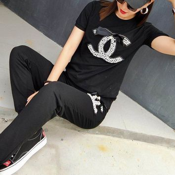 CHANEL Fashion Print Sport Gym Set Two-Piece Top Pants Sportswear
