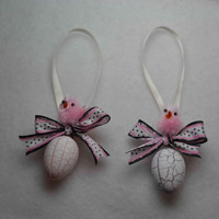 Easter pink chicks on plastic crackle eggs set polka dot ribbon bows ornaments decorations, Spring home decor, add to wreath or basket