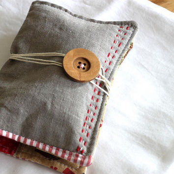 Travel sewing kit, embroidery kit, pin cushion, sewing kit. Zakka style. Linen and selected designers fabrics. Ready to ship.