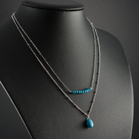 Turquoise Layered Necklace, Two Layer Necklace, Dainty and Delicate Fine Silver Chain