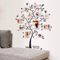 Home Decoration Family Photo Picture Album Frame Tree Butterfly Flower Heart Mural Wall Sticker House Decor Living Room Decals
