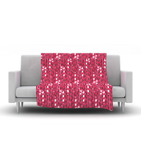 "Allison Beilke ""Candy Cane Lane"" Pink Red Fleece Throw Blanket"