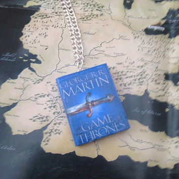 A Song of Ice and Fire / A Game of Thrones book necklace / keychain