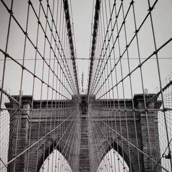Black and White Brooklyn Bridge Art Print NYC New York City Iconic Architecture Photography Industrial Home Decor Urban Wall Art Landmark