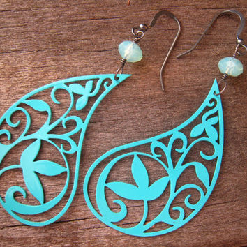 Turquoise Paisley Earrings Spring Trends Gift