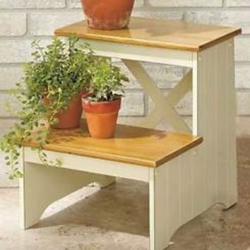 White Beadboard Country Step Stool 2-Tone Finish Kitchen Household Stool Home