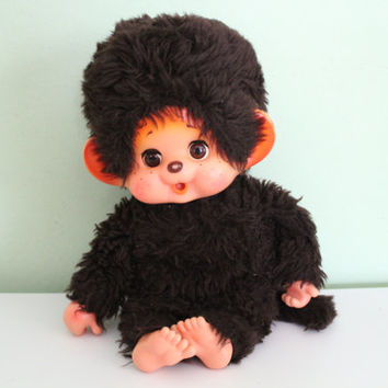 Vintage Plush Monkey Doll, Monchhichi Monkey 14'' Made in Japan, Stuffed Animal, Anime Cartoon Animal, Collectible, Home Decor