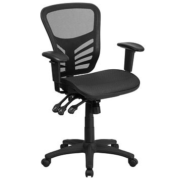 Mid-Back Mesh Executive Swivel Chair with Mesh Seat and Back, Multi-Function Triple Paddle Control and Height Adjustable Arms