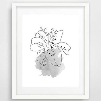 White Lily Art Print, Calla Lily print, Botanical wall art, Lily Flower print, Lily poster, Minimalist Art, Black and white prints
